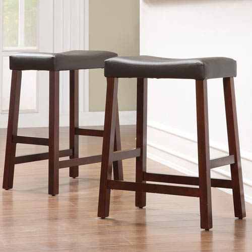 Homehills Cherry Saddle Cushioned Seat 24 Inch Bar Stools Set Of Two